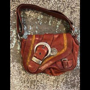 Brick red Christian Dior small gaucho bag